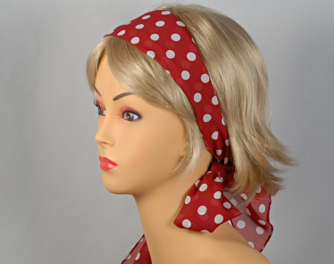 Wine Headscarf With White Polka Dots Attached To Plastic Headband