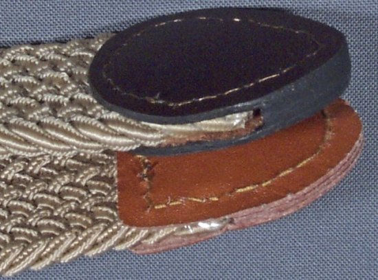 side view of elastic stretch belt fabric and end tabs