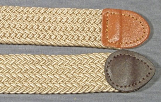 view of elastic stretch belt fabric and end tabs