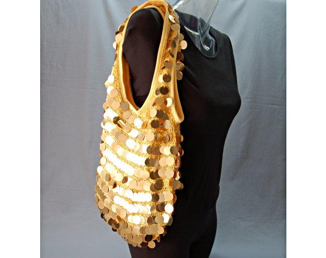 gold crochet sling bag, big gold bangle sequins, sheer gold lining ...
