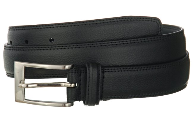 Strait City Image Grain Leather Dress Belt Black 1840