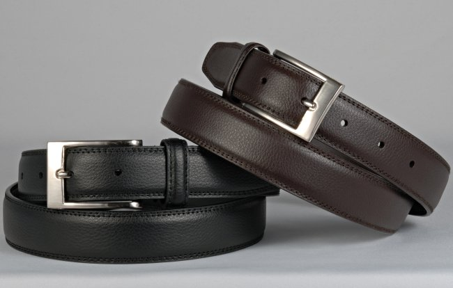 pair of medium narrow men s grain leather dress belt 33036ab07f4e