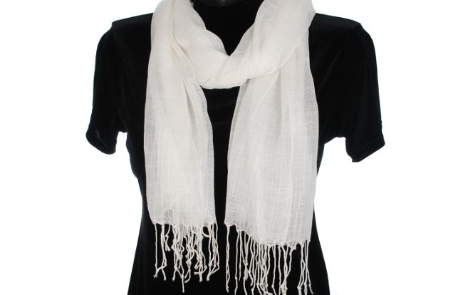 Strait City image: long soft solid color scarf white JYS35
