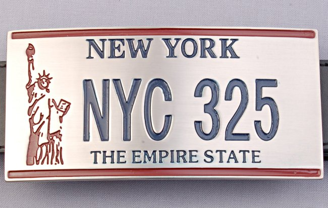 New york license plate belt buckle with statue of liberty