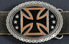 oval belt buckle with black and orange iron cross on black enamel and rimmed with motorcycle chain