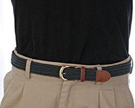 gray and black stretch belt with black shirt and khakis