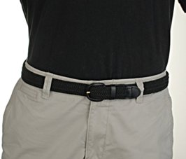 black stretch belt with polo shirt and khakis