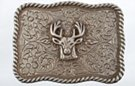 shield shape buck head western belt buckle