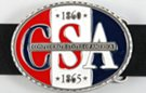 "enamel and pewter ""Confederate States of America"" oval belt buckle in red, white and midnight blue"