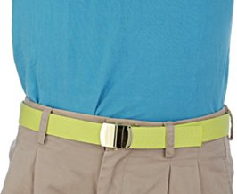 cyan polo shirt with lime green military belt