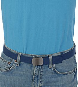 cyan polo shirt with navy blue cotton web belt