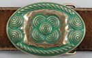 verdigris and hammered brass small oval belt buckle