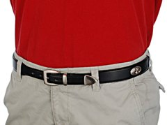 black concho leather belt with red shirt and khakis