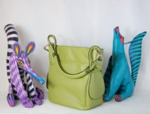 lime green tote with Zenny Fuentes fanciful animals