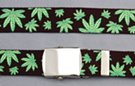 black military web belt with marijuana leaves and buckle
