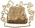 gold coin purse with long shoulder chain