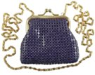 purple coin purse with long shoulder chain
