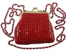 red coin purse with long shoulder chain