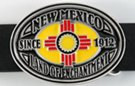 oval belt buckle of the New Mexico state flag
