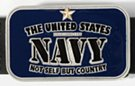 navy blue enameled rectangular US Navy belt buckle
