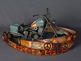 painted leather belts with motorcycle
