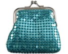tiny blue metal mesh coin purse