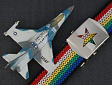fighter jet, rainbow webbing, star buckle