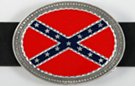 oval red, blue and pewter rebel flag belt buckle