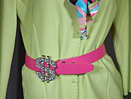 rhinestone dollar sign buckle on fuchsia belt