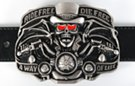 belt buckle with red eyed skeleton in tux on bike