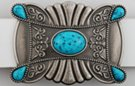 four corner and central nugget antique tin western belt buckle