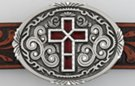 "oval western pewter belt buckle with red ""stained glass"" cross in center"