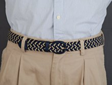 navy blue and beige men's stretch belt on model