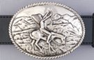 war bonnet rider and horse in moutains on bas-relief belt buckle