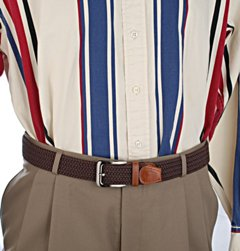 wide stretch belt with slacks and shirt