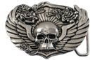 human skull on wings with roses belt buckle
