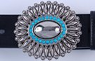 oval needlepoint belt buckle, silver-tone with turquoise inlay about egg