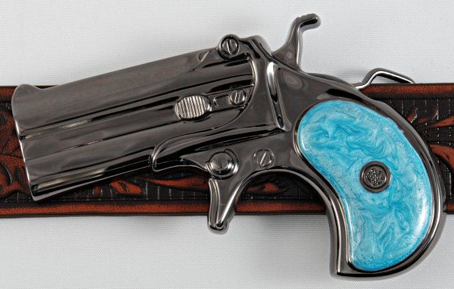 Strait City Image Derringer Pistol Buckle Blue Im27